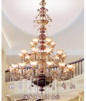 European Large Royal Crystal Chandelier Lamp 30arms Lustres Cristal Suspension Lighting Hotel Resteruant Villa Luminaire Lights