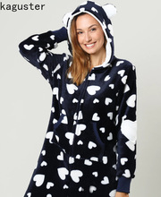 2019 winter Women Onesie Flannel Black Pajamas White Heart-shaped Print Home Hooded Casual Outfit Warm woman