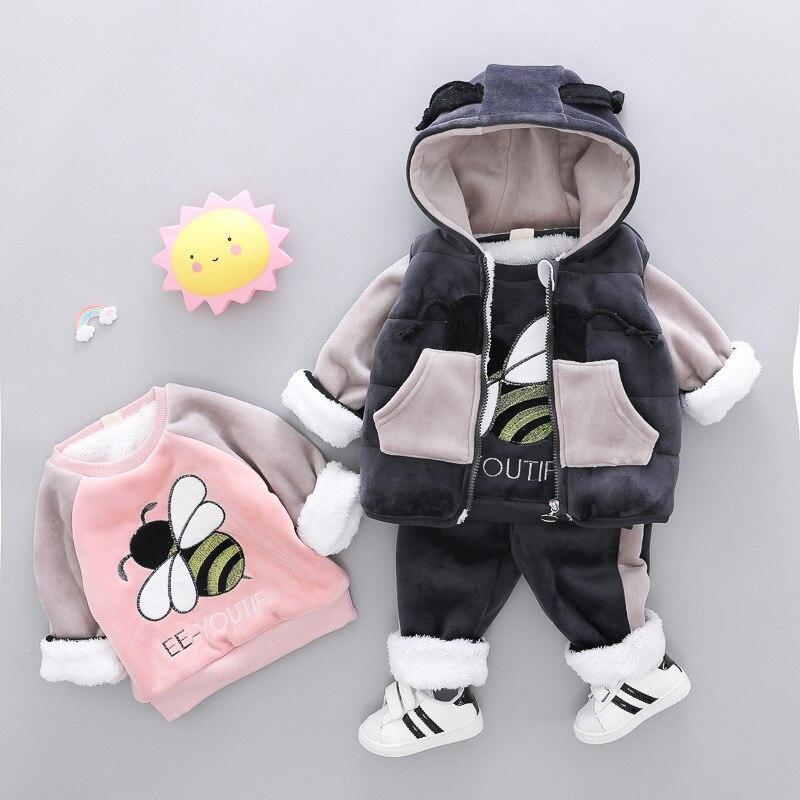 Bébé fille garçon vêtements ensembles 2019 Cartoon Bee automne hiver chaud enfant en bas âge gilet + chemise + pantalon 1 2 3 4 ans enfant vêtements costume
