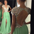 Long Evening Dresses 2017 Green Slit Prom Gowns Crystals Beaded Party Dresses V Neck A Line Vestidos De Festa Robe de soiree