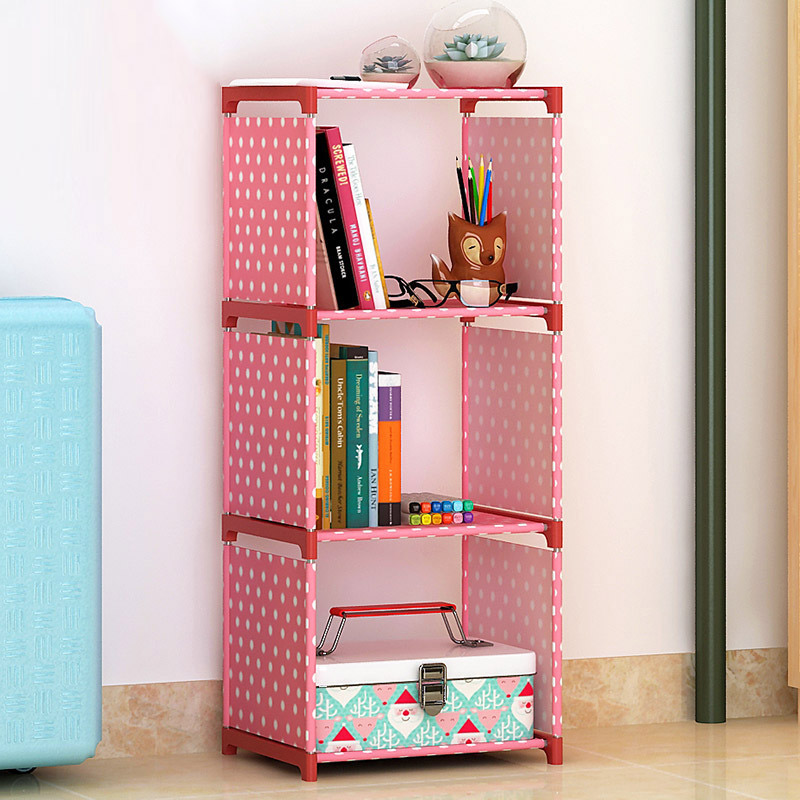 Simple 3 grid Bookshelf assembly Metal reinforced bookcase combination Multi-function bookcase Indoor floor Shelf display shelf 360 degree rotation simple bookshelves multi storey floor bookcase shelves children s dormitory shelter