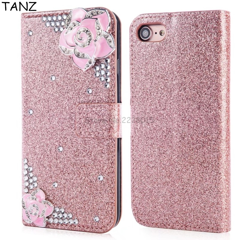 Phone Case For iPhone X 8 5 5S SE 7 6 6S Plus Glitter 3D Bling Crystal Diamond Rhinestone Luxury Flip Leather Wallet Cover Case