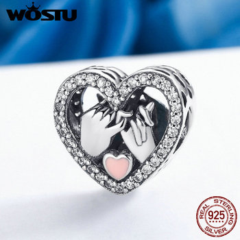 цена на WOSTU Fashion 925 Sterling Silver Promise For Love Heart Beads Fit Original wst Charm Bracelet Authentic Jewelry Gift DXC167