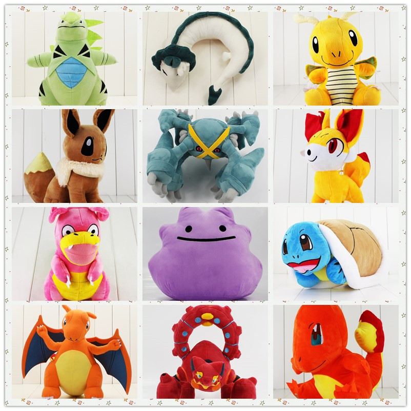 20-50cm Squirtle Pillow eevee Charizard Volcanion Metagross Tyranitar Ditto Charmander Dragonite Haku Hayao hippo Slowking plush