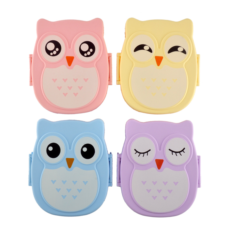 2 Layer Cute Cartoon Owl Lunchbox Kids Children Home $ School Food Fruit Storage Container Plastic Bento Xmas Gift