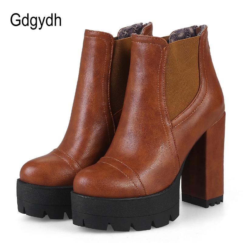 Gdgydh Fashion Zipper Braun Frauen Kurze Stiefel Plus Größe 43 Weibliche Casual Schuhe Herbst High Heels Stiefeletten Plattform Heels-in Knöchel-Boots aus Schuhe bei AliExpress - 11.11_Doppel-11Tag der Singles 1