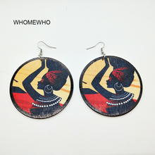 Unfinished Wood Printing Africa Girl Round Drop Earrings Wooden African Hiphop Tribal Handmade DIY Jewelry Natural Accessories