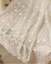 ivory lace fabric, embroidered tulle lace fabric, netting lace with scalloped trim, floral lace fabric floral lace