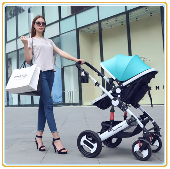 4 Colors Avilable Luxury & Comfortable Children Stroller High Landscape Pram With 900D Oxford + Lycra Cloth Fast Shipping By EMS