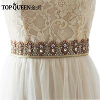 TOPQUEEN AS20 India Silk Bride Evening Party Gown Dresses Accessories Wedding Sashes Belt Waistband Bridal Belts