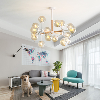 Modern Wood Frame LED Chandelier (9-16 heads)