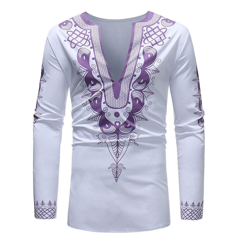 Male Men Casual African Dashiki Polished Hippy Side-Slit Shirt Long-Sleeved Slim V-Neck Embroidery Top Hippie Ghana Wear For Men