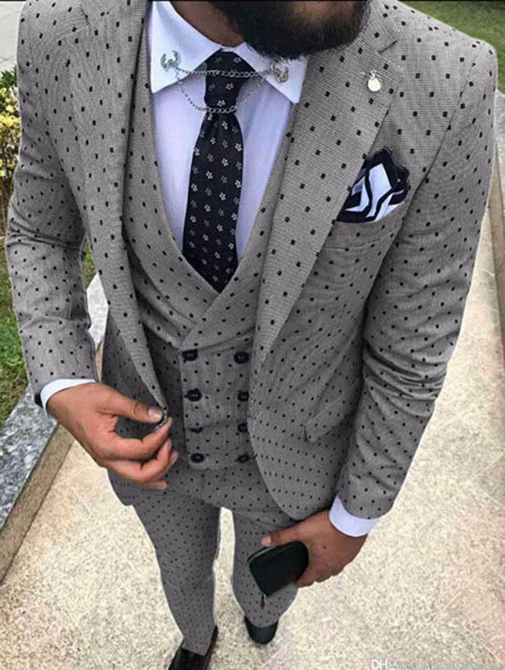 HTB1L93mTVzqK1RjSZFoq6zfcXXam 2019 Men's Poika dot Suit 3 Pieces latest coat pant designs Notch Lapel Tuxedos Groomsmen For Wedding/party(Blazer+vest+Pants)