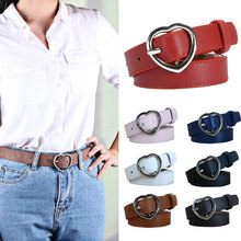 Lady Imitation Leather belt Brand Belts Women Heart Shape Pin Buckle Designer High Quality Female