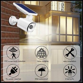 Fake Camera Solar Power Outdoor Simulation Dummy Camera Waterproof Security CCTV Surveillance Bullet With Flashing LED Light