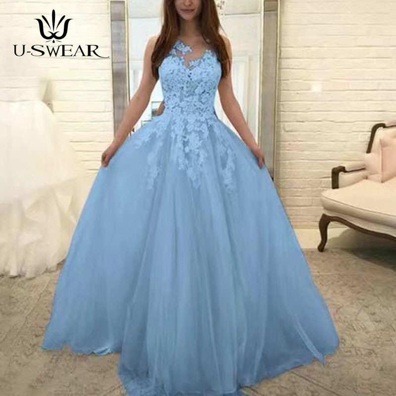 U-SWEAR Evening Dress 2020 O-Neck Sleeveless Lace Applique Evening Party Prom Formal Gowns Long Dresses Vestidos Robe De Soiree