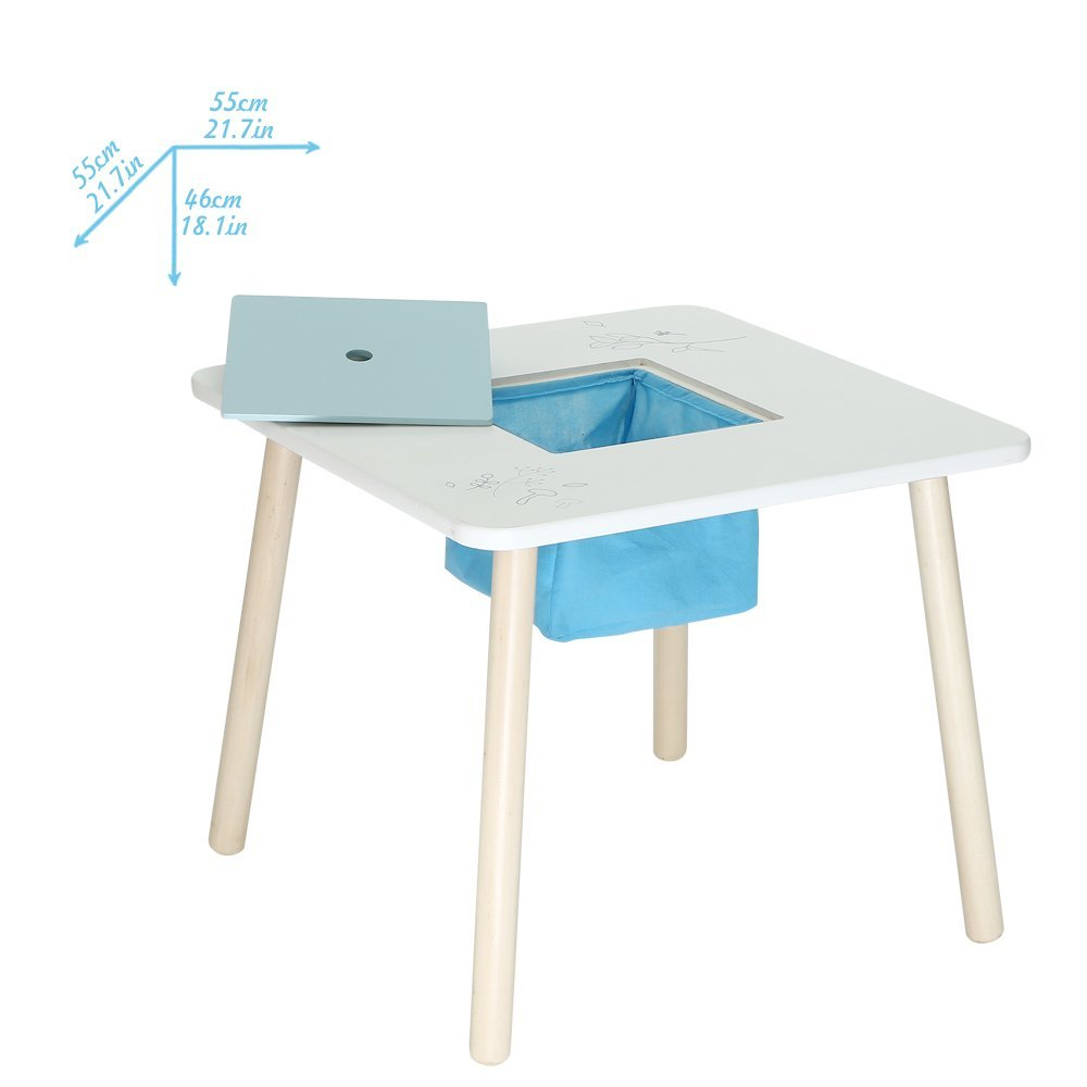white toddler table and chairs swivel chair le corbusier labebe wooden activity set bird printed with bin for 1 5 years in furniture toys from hobbies on aliexpress com