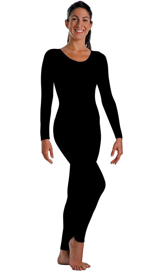 Unisex Adult Long Sleeve Footless Full Body Unitard Nylon Spandex Dance Unitard Costume Scoop Neck Leotard Gymnastics Bodysuits