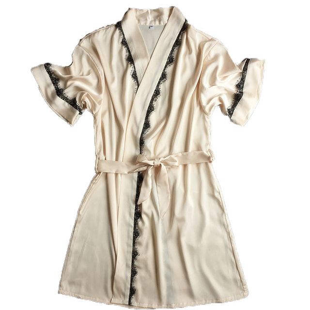Середина рукав Сексуальные женские Плюс Размер M, L, XL Халаты Бесплатная Доставка 2016 Летний Стиль Атласный Шелк Пижамы халаты Пижамы Женщина