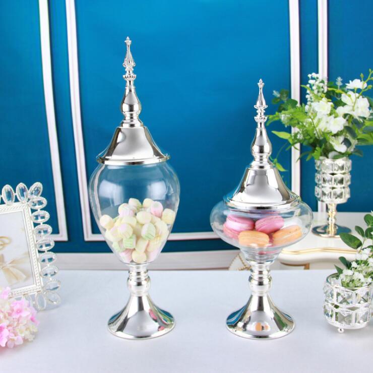 Eueope métal haut stockage réservoir verre bonbons pot mariage dessert table décoration cuisine nourriture conteneurs maison table décor TG02