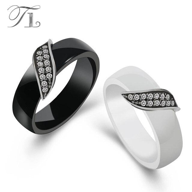 TL di Nuovo Modo Bianco e Nero Anelli di Ceramica per Le Donne Da Sposa di Marca In Acciaio Inox Anelli Intarsio Zircone Cubico di Pietra di Ceramica gioielli