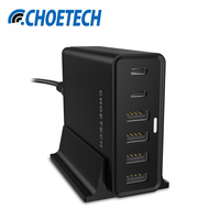 USB Type C Charger for Nexus 5X/6P, CHOETECH 55Watt Multi USB Charging Station with Holder for iPhone Mobile Phone Chargers