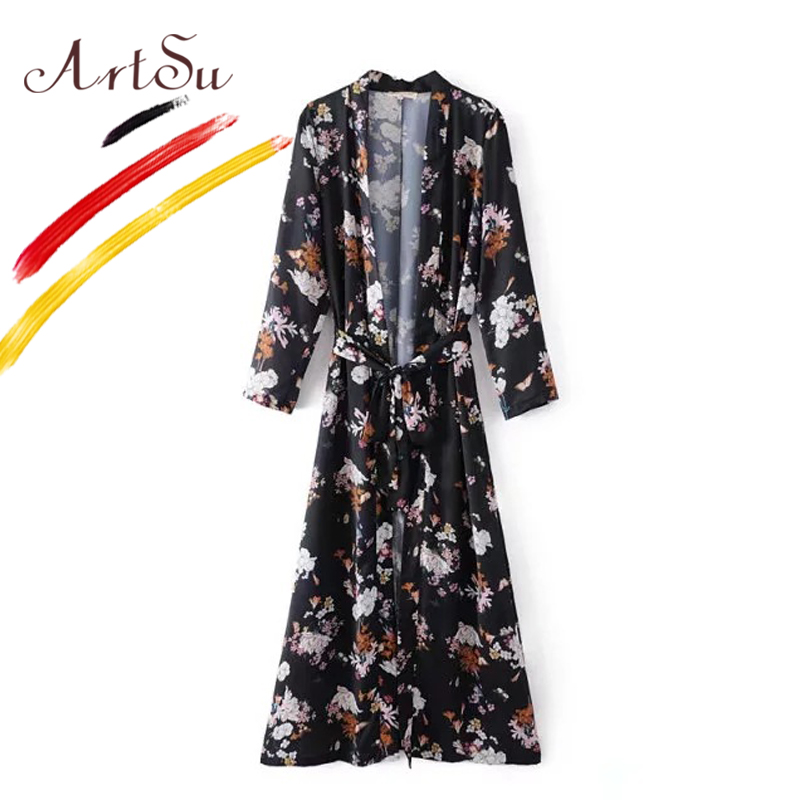 ArtSu Women Floral Kimono Vintage Lace Up Long Shirt 2017 Autumn Long Sleeve Chiffon Beach Blouse