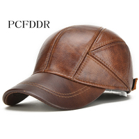 PCFDDR Leather Hat, Man, Autumn And Winter, Warm leather Hat, Middle aged And old Outdoor Cotton Clip, Ear Protection Baseball C