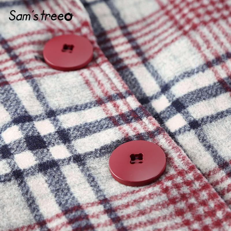 down Chaud Unique Carreaux Laine À Style Turn Femmes D'extérieur Manteau Samstree Extra Long Femelle Col Poitrine Red De Hiver Coréen 7S8qv