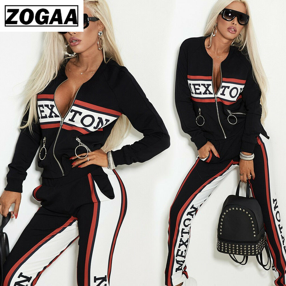 Spring Fashion 2 Piece Set Women Sport Wear Tracksuit Girls Letter Pant Suit Outdoor Casual Sweatsuit Female Outfits Streetwear