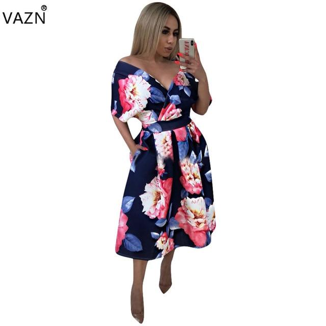 33691d37b929 VAZN 2018 summer hot sexy deep v-neck long dress women print short sleeve  dress ladies elegant hollow out maxi dress 8298