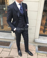 2018 Elegant Brand Custom Business Men Suit Made Mens Black 3 Piece Prom Tuxedos Wedding Groom