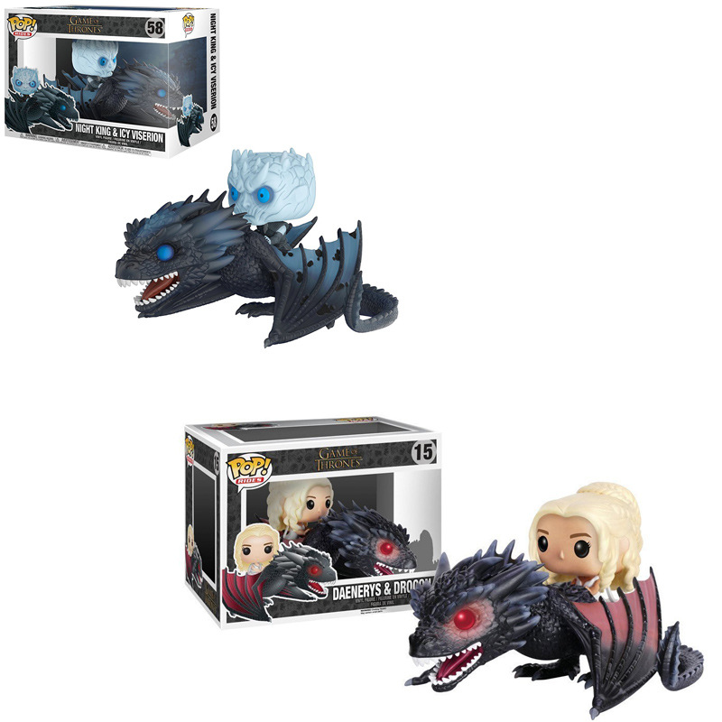 Original Funko POP Game Of Thrones Ice And Fire Juguetes Daenerys Rides Drogon PVC Action Figure Collectible Model Gift 2F02