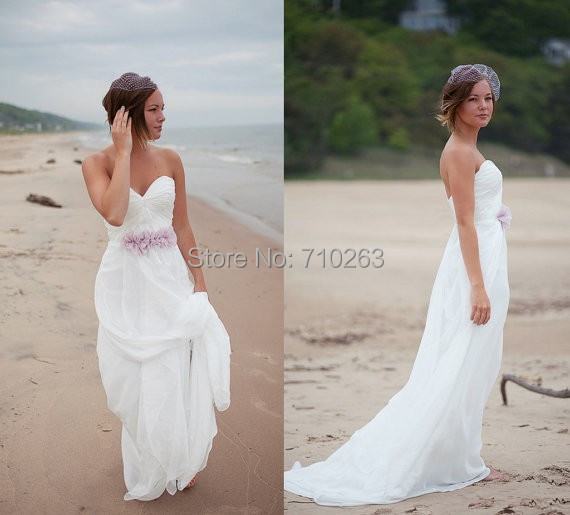 Cheap Beach Wedding Dresses 2014 A Line Strapless Zipper Flowy Chiffon Bridal Gown in White