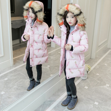 Girls Cotton-padded Outerwear & Coats 2018 New Winter Children Warm Clothes Parka Girls Faux Fur Collar Jacket 4 6 8 10 12 Years 2018 baby girls cotton padded outerwear