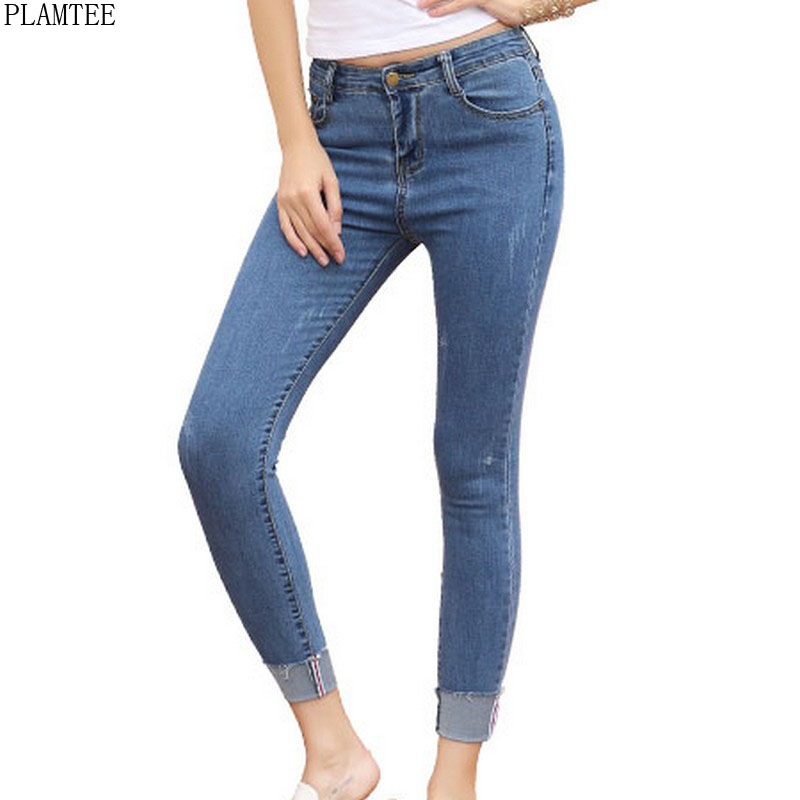 Women Pencil Pants Large Size Mid Waist Vaqueros Mujer 2017 Elastic Skinny Slim Jeans Ankle-Length Trousers For Women 26-31 Size 2017 new jeans women spring pants high waist thin slim elastic waist pencil pants fashion denim trousers 3 color plus size
