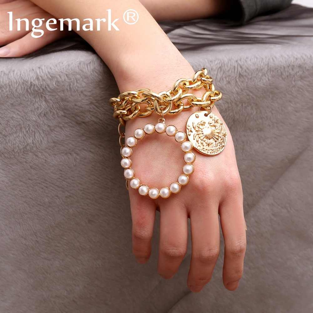 Ingemark Bohemia Round Imitation Pearls Pendant Bracelet Bangle Women Punk Carved Coin Crab Thick Chain Bracelets New Year Gift