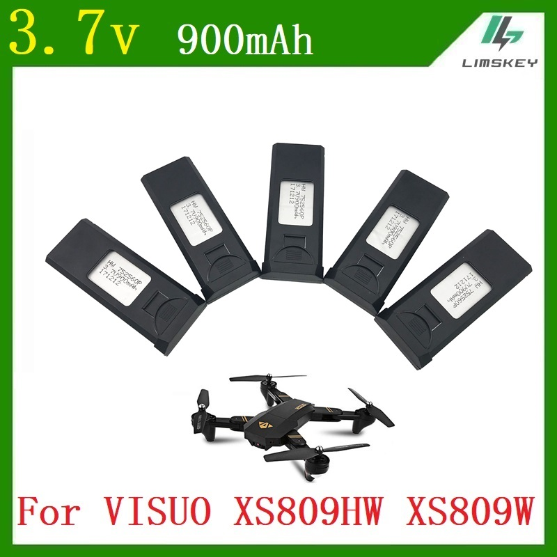 5pcs/sets 3.7v 900mAh for VISUO XS809W X809HWQuadcopter Spare Parts Accessories Lipo Battery Rechargeable for Drones +charger