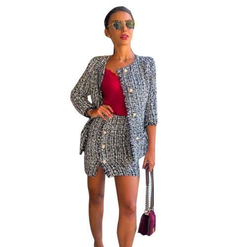 Women Office Lady Grey Tweed Jacket Evening Blazer Skirt Suit Set Plaid Pockets Buttons 6-14