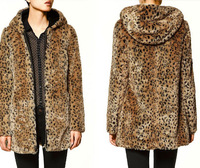 TUHAO Plus Size 4XL 3XL Loose Faux Fur Coat Large Size Autumn WINTER Women Leopard Print Loose Long Sleeve HOOD Overcoat LQ282