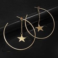 Women Trendy Romantic Big Zinc Alloy Silver Gold Color Round Geometric Star Hoop Earrings
