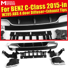 W205 Diffuser+Exhaust Tips Fit For Benz Sport 4 door ABS Rear Bumper Diffuser Lip 4-Outlet Exhaust Endpipe C180 C200 2015+
