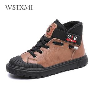 Image 3 - New Autumn Winter Boys Boots Kids Shoes for Children Sneakers Genuine Leather Girls Fashion Ankle Martin Boot Plush Warm Running