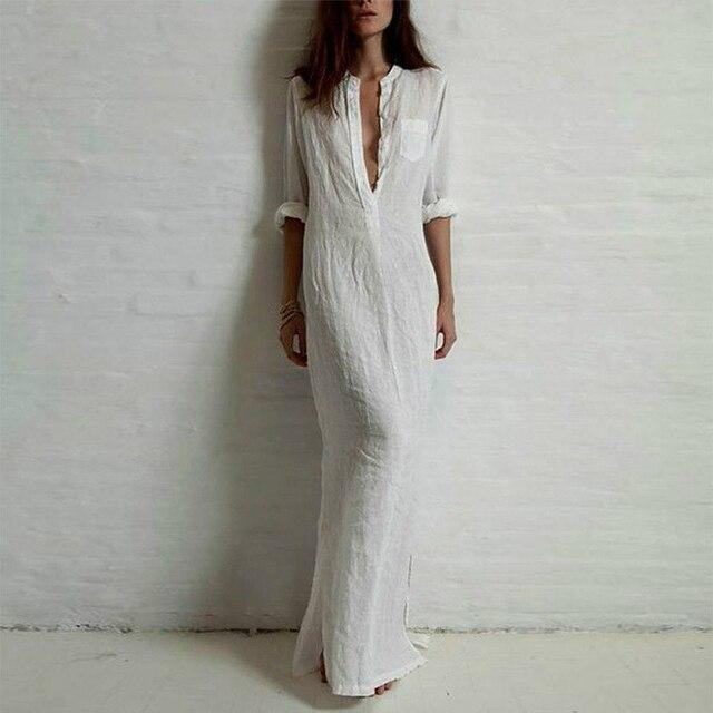 נשים Boho שמלת Robe נקבה מקסי שמלת 2019 קיץ ארוך חולצה שמלה בתוספת גודל 5XL אלגנטי גבירותיי ארוך שרוול V צוואר רטרו שמלות