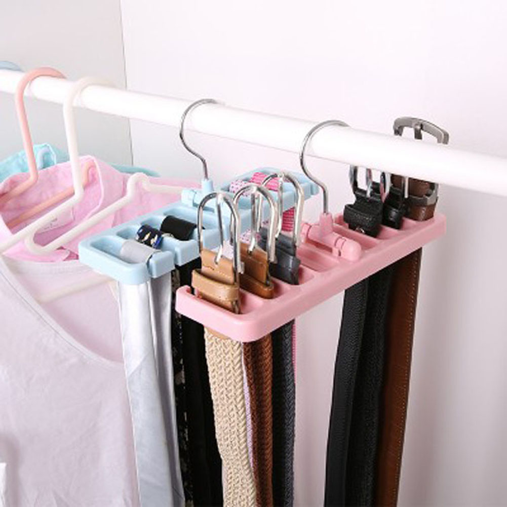Storage Rack Tie Belt Organizer Space Saver Rotating Scarf Ties Tank Tops Bra Belts Bag Hanger Holder Hook Closet Organization