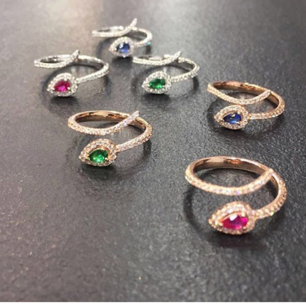 european elegance full finger cz ring adjusted open design various color cz stone High quality Drop shipping Trendy finger rings