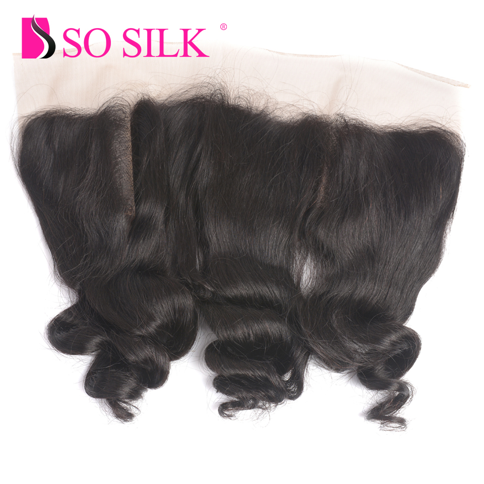 Pre-Plucked Lace Frontal Closure With Baby Hair Loose Wave 13x4 Ear To Ear 100 % Malaysian Remy Human Hair Frontal So Silk Hair
