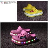 Summer Kids Sandals Led Light Boys Girls Shoes Summer Beach Slippers Child Comfortable Girls Sandals Cartoon
