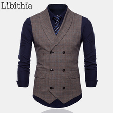 Men Formal Plaid Suit Vest High Quality Double-breasted Big Size M-4XL Waistcoat Men Grey Coffee T053