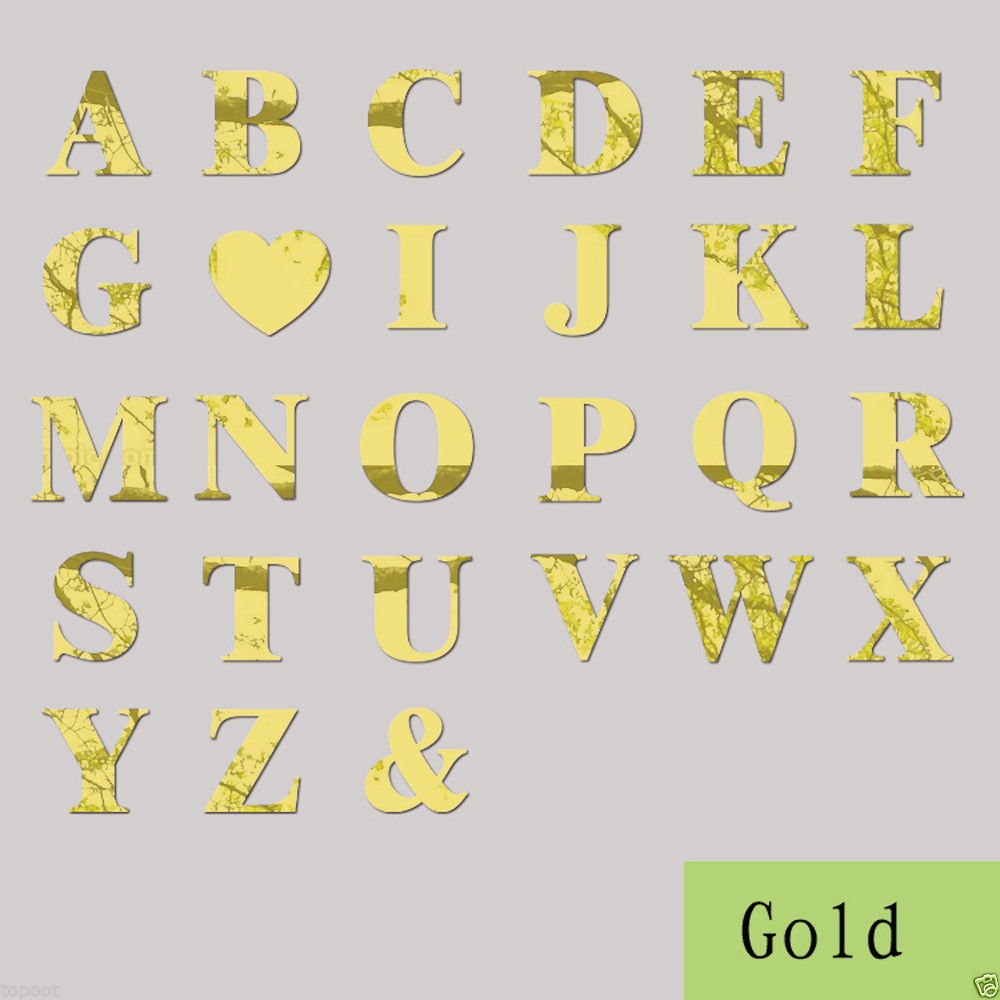 10*10cm New Gold Acrylic 26 letters Mirror Wall Decals Making Words ...
